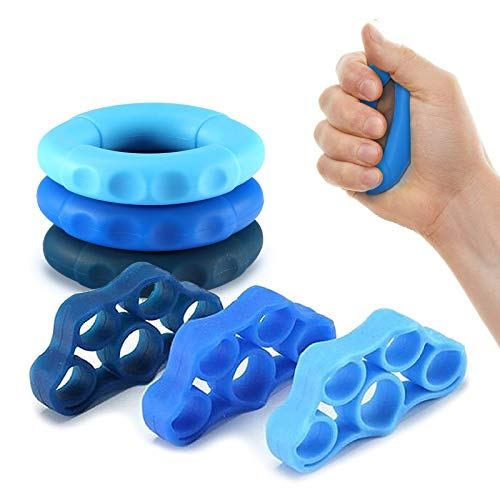 CUNBANZ Hand Grip StrengthenerFinger Exerciser Grip Strength Trainer 6 PCSFinger Stretcher for Arthritis CarpalGrip Strength TrainerGuitar and Rock Climbing