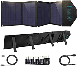 CHOETECH Cargador Solar, Kit Panel Solar Portátil 80W, Plegable Impermeable, PD 30W + QC 18W + USB 12W, Salida de DC 18V para Generador Portátil, Power Station, Laptop,Tablet, iPad, Smartphone