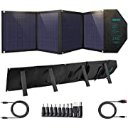 CHOETECH 80W 18V Solar Charger with USB C PD 30W,USB QC 18W USB 12W Foldable Solar Panel Charger Support 18V DC Output for Portable Generator Power Station Laptop Tablet iPad Smartphone,4 Ports