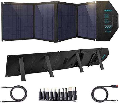 CHOETECH Cargador Solar, Kit Panel Solar Portátil 80W, Plegable Impermeable, PD 30W + QC 18W + USB 12W, Salida de DC 18V para Generador Portátil, Power Station, Laptop,Tablet, iPad, Smartphone