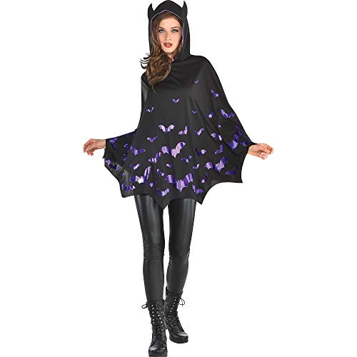 Adult Bat Poncho Costume, Multicolored, One Size