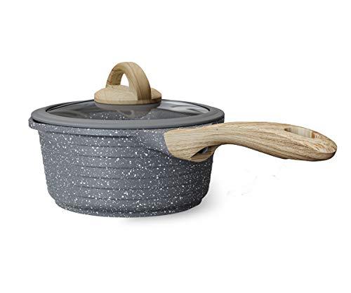 JEETEE 2.5 Quart Nonstick Sauce Pan with Lid, Granite Stone Coating Saucepan with Pour Spout, Samll Soup Pot Milk Pan Induction Compatible