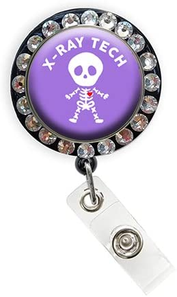 Badge Holders Sizzle City Retractable Badge Reels Name Tags Alligator//Swivel Clip, Xray Tech Skeleton/_Black Bling