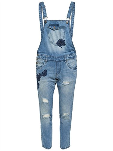 ONLY Damen onlKIM Witty EMB Loose DNM Overall BJ Latzhose,per Pack Blau (Medium Blue Denim Medium Blue Denim),38