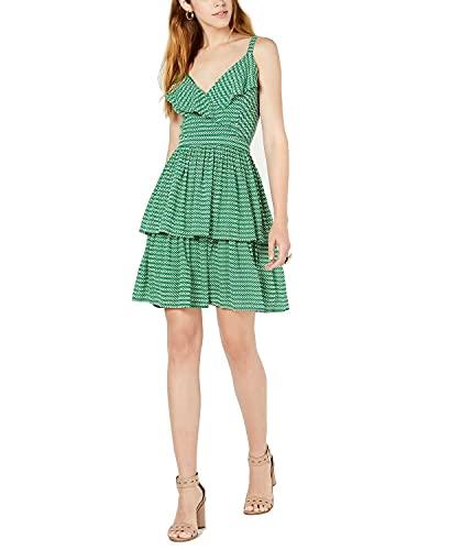 Bar III Womens verde stampato Spaghetti Strap V collo sopra il ginocchio guaina abito taglia: 10