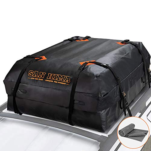SANHIMA Roof Cargo Carrier Bag - (15 Cubic Feet) Heavy Duty Roof Bag with Anti-Slip Mat, Waterproof Excellent Quality Rooftop Cargo Box for All Vehicle with/Without Rack