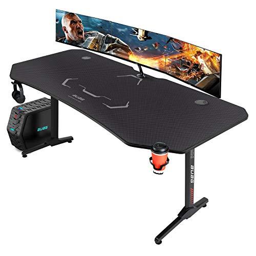 AuAg Gaming Desk 63 inch Larger Battlestation PC Computer Desk Home Office Desk Gaming Table Gamer Workstation with Full-Sized Desk Mat & Cup Holder & Headphone Hook & Powerful Cabling Management