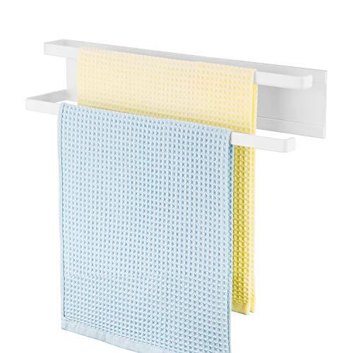 X-Chef Magnetic Towel Bar for Refrigerator, Kitchen Towel Holder, Dish Towel Hanger, Magnectic Towel Rack, 15.7'' for Hand or Tea Towels, No Drilling, Modern, White