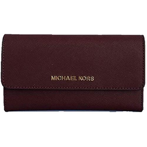 Michael Kors Jet Set Travel Large Trifold Saffiano Leather Wallet - Merlot