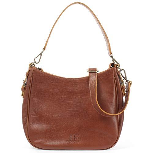 LECONI Schultertasche Henkeltasche Damentasche Umhängetasche natur weiche Ledertasche Handtasche Damen Leder 30x27x11cm braun LE0063-buf