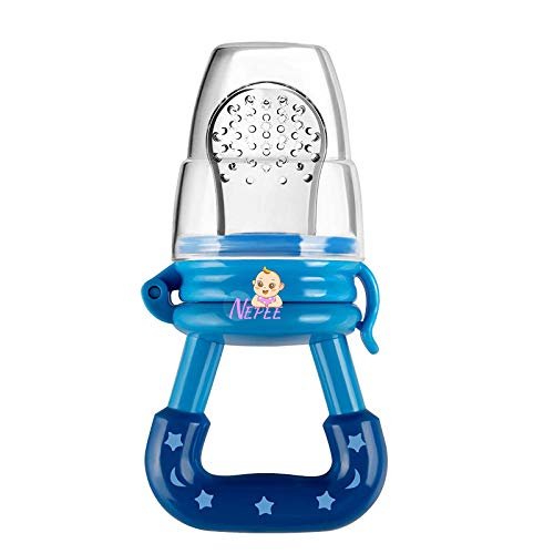 NEPEE Silicone Baby Fresh Fruit Food Feeder/Pacifier Feeder Nibbler/Fruit Dummy (Blue) Pack of 1