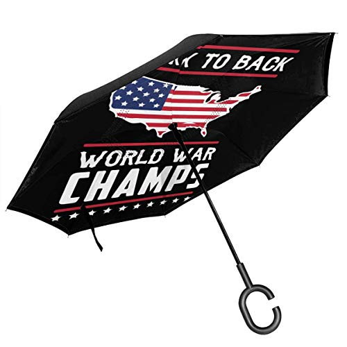 sfdgd Back-to-Back World War Champs Car Inverted Regenschirms with C-förmiger Griff UV Protection & Rain Winddichter Regenschirm for Car Rain Outdoor Use