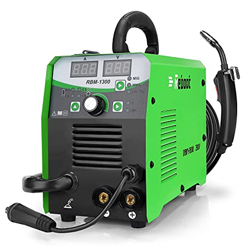 Reboot Soldadora MIG 130A 1kg 230V IGBT gas y sin gas MIG/ARC/Lift TIG 4 en 1 Núcleo de flujo/Alambre sólido Máquina de soldadura por inversor MMA MIG MAG