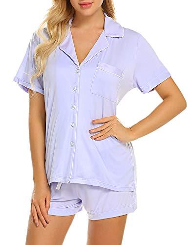 Ekouaer Women's Classic Button Front Sleepwear Short Sleeve 2 Pc Pj Set (Violet Ash,L)