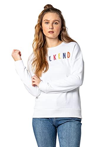 Eight2Nine Damen Pullover Sweater mit bunter Stickerei White XS