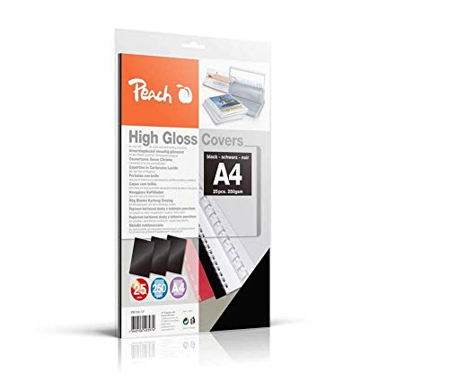 Peach PB100-17 achterwanden afdekbladen A4, 250 g/m², 25 stuks, hoogglanzend, zwart