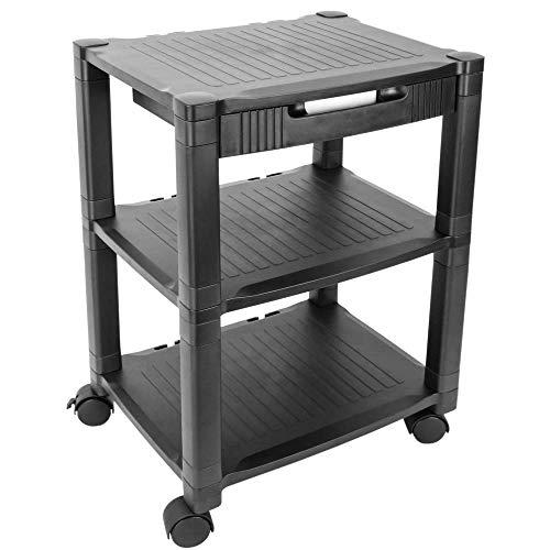PrimeMatik - Mesa Auxiliar 3 Niveles para Impresora con Ruedas y cajón