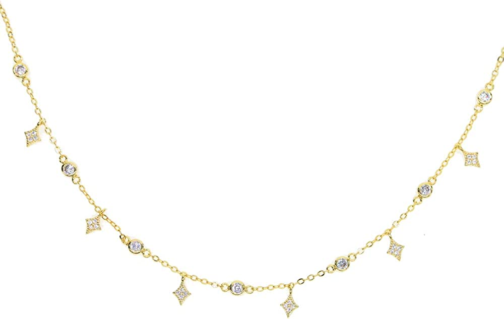 ATJMLADY Sparking Star Drop Charm Choker 3 Colors Elegance 32+8cm Short Collar Necklace for Women chokers