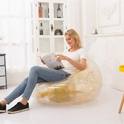 MJS 100kg Lager Bohnenbeutel Stuhl Outdoor Camping Tragbare Faule Bohnenbeutelstuhl mit Füllung Aufblasbares Sofa Strand Bodensitz Air Recliner Couch (Farbe : Golden 100cm)