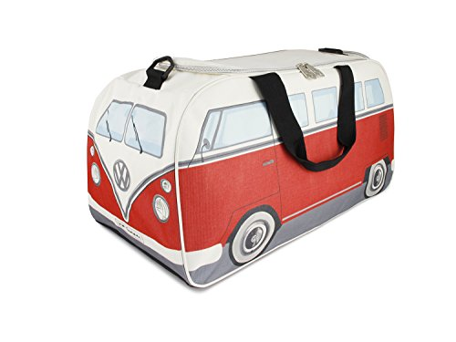 BRISA VW Collection - Volkswagen T1 Bulli Bus trendy Retro Sport-Tasche (Klein/Rot/Beige)