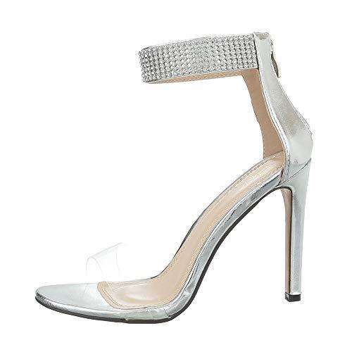 Ital-Design Damenschuhe Sandalen & Sandaletten High Heel Sandaletten Synthetik Silber Gr. 40