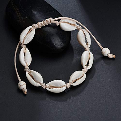 Egurs Hawaiian Style Armband Natürliche Muschel Handgewebte Verstellbare Fußkette Meer Strand Ferien Weiß
