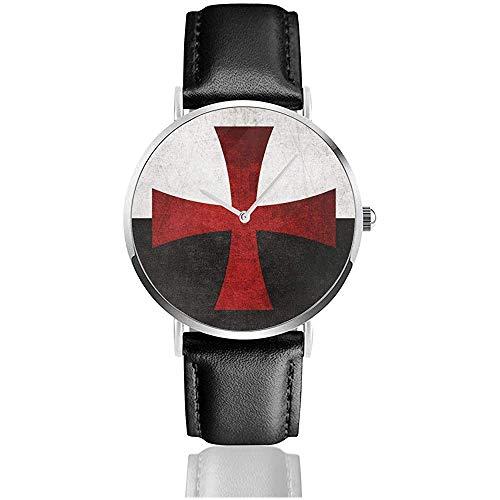 Zwarte en Witte Vlag met Rode IJzeren Kruis Unisex Horloge Sport Horloge PU Lederen Band Quartz RVS Polshorloges