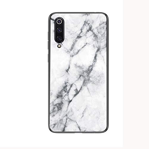 SHIEID Cover per Xiaomi Mi 9 SE,de Vidrio Templado de mármol, Cubierta Antideslizante de Silicona Ultrafina, Adecuada para Cover per Xiaomi Mi 9 SE (Blanco)