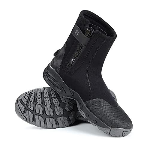 Sarhlio - Stivali da immersione in neoprene, altezza 5 mm, con cerniera e suola in gomma antiscivolo, per sport acquatici, immersioni, snorkeling, kayak, Nero (Nero ), 49 EU