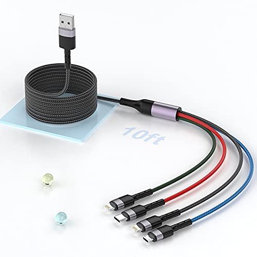 MTAKYI Cable de cargador múltiple 4 en 1 【3 M / 10FT】, Cable de carga múltiple USB trenzado de nailon Adaptador de cable de cargador de teléfono universal con conector Lightning/Tipo C/Micro USB