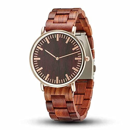 yuyan Reloj de madera para hombre, minimalista, ultrafino, analógico de cuarzo, hecho a mano por sándalo rojo natural puro con caja de regalo de madera, el mejor regalo para hombres