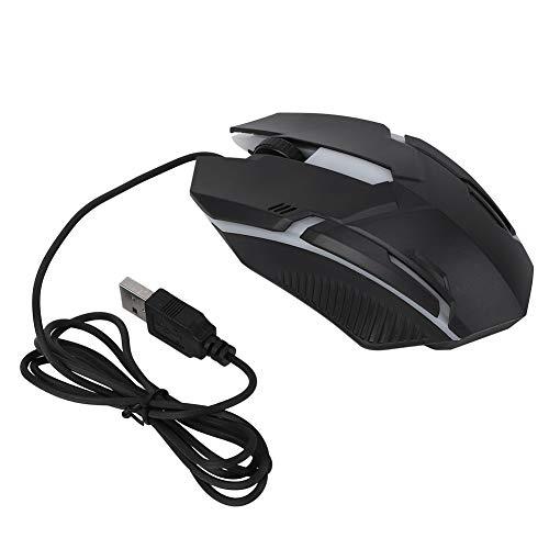 Junluck Mouse para jogos preto retroiluminado portátil 1600DPI com fio, mouse PC colorido, acessório para computador para WindowsXP/Vista/7/8/10 para PC Laptop