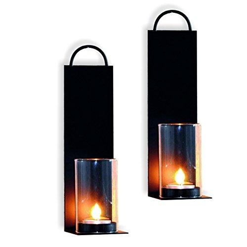 Wand Kerzenhalter 2er Set Metall schwarz Teelicht Wandkerzenhalter Wandleuchter