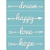 OLYCRAFT - Plantilla de Serigrafía Autoadhesiva con Palabras, Plantillas de Patrones Reutilizables para Pintar En Camisetas de Tela de Madera, Decoración de Pared, Dream & Happy & Love & Hope