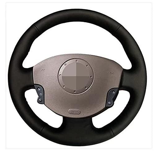 QOMFNG Cubierta del Volante del Coche de Cuero Artificial Negro Suave, para Renault Megane 2 2002-2009 Kangoo (ZE) 2008-2013 Scenic 2 2003-2010