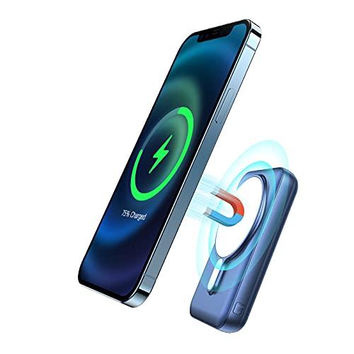 JIGA - Batería externa magnética (15 W, 10000 mAh, PD 20 W, con cable USB-C, adecuado para iPhone 12, 12Pro, 12 Mini, 12Pro, Max y funda magnética oficial, color azul)