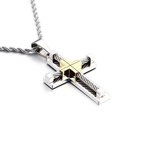 YL Collar Cruzado de Acero Inoxidable con Oro de 18 k/Oro Blanco/Collar Colgante de Jesucristo Chapado en Negro para Hombres, Cadena de Cuerda torcida de 60 cm