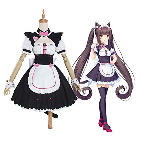 Dittzz Cosplay kostuum set, Nekopara chocola vanille cosplay kostuum kat meisjes dienstmeisjes jurk uniform