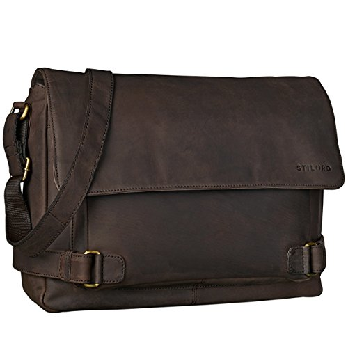 STILORD 'Luca' Borsa da Postino Vintage Design Uomo Donna Business Borsa per il portatile 15.6 pollici, Colore:marrone scuro - pallido