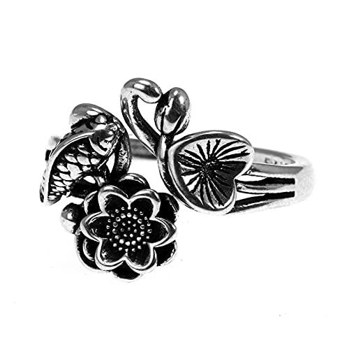 ZiFei Anillo 925 Sterling Silver Fish Lotus Flowers Anillos para Las Mujeres Joyería de La Vendimia Ajustable