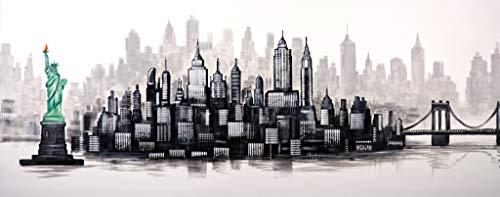 Cuadro Pintado Skyline New York Blanco y Negro 150x60 cm 100% Original