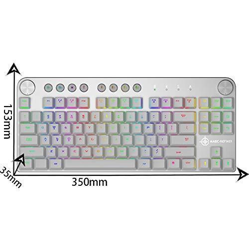NCBH Mechanisch toetsenbord met led-achtergrondverlichting, bluetooth, draadloos, RGB-modus, dual toetsenbord voor gamers van pc thuis en op kantoormechanisme.