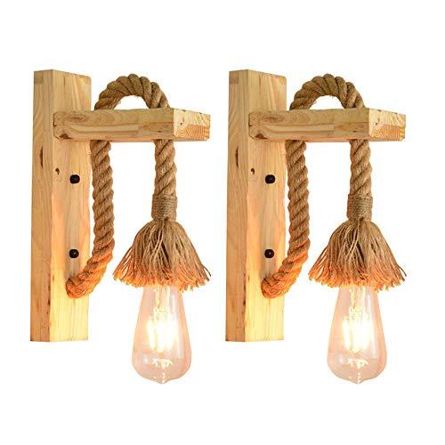 VOMI 2Pack Madera Apliques de Pared de Cuerda de Cáñamo Dormitorio Iluminación de Pared Creativa Lámpara de Pared Viento Industriales Retro Mesilla Luces de Pared Sala de Estar Estudio, E27