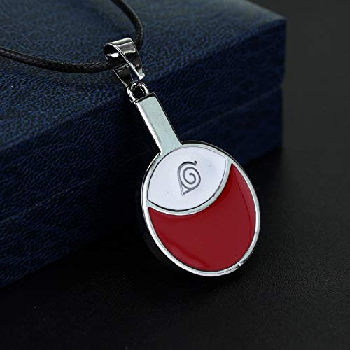 DYKJ Anime Naruto Necklace Red Leaf Village Symbol Alloy Pendant Fashion Leather Rope Choker Necklace For Men and Women