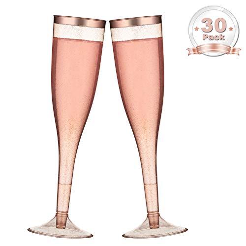 LOMOFI Rose Gold Funkeln Sektkelche aus Kunststoff Mit RoseGoldener Rand-30 Pack | Recycelbarbecher Hochzeit Urlaub Toasten von Weingläsern...