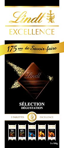 LINDT & SPRÜNGLI Fan Box Excellence Chocolat - 5 Tablettes - 500 g