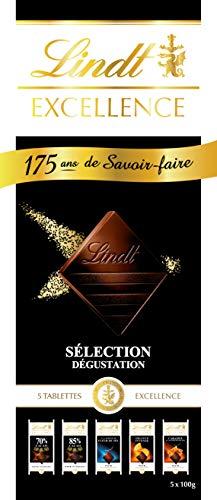 LINDT & SPRÜNGLI Fan Box Excellence Chocolat - 5 Tablettes - 500 g