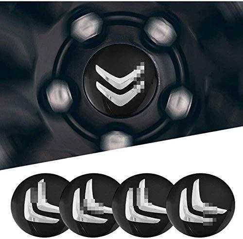 Paquete de 4 tapas centrales de rueda para Citroen C4 C5 C6 C8 C2 C3 C-Elysee AX DS Logo de tapas centrales de rueda, decoración de la cubierta de la tuerca, accesorios de estilo de coche Pegatinas