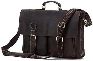 Nfudishpu Men Leather Shoulder Messenger Bag Men's Shoulder Bag Vintage Leather Bag Shoulder Bag Simple Atmosphere Thick L...