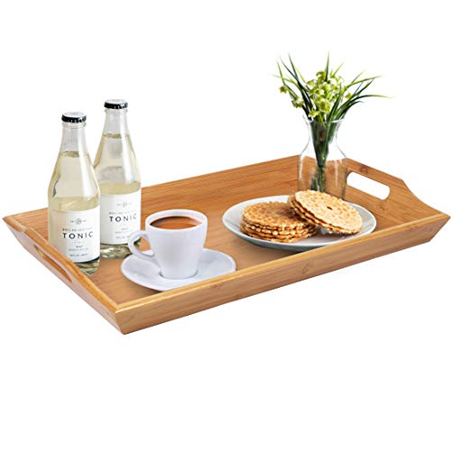 Artmeer Wooden Large Serving Trays Handles Breakfast Salad Platters Bamboo Decorative Trays Coffee Tea Tray Food Tray Butler Serving Tray for Kitchen Party Dinner Snack